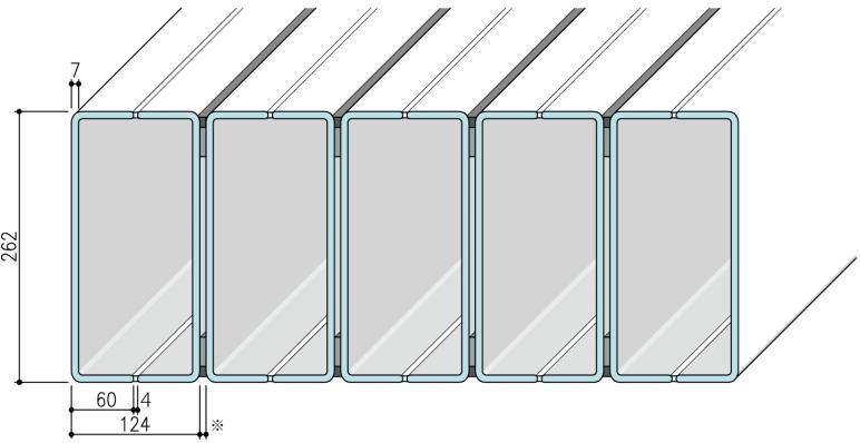 【リニット溝型ガラス:ボックス施工 262×60×7(mm)_ フランジタイプ】