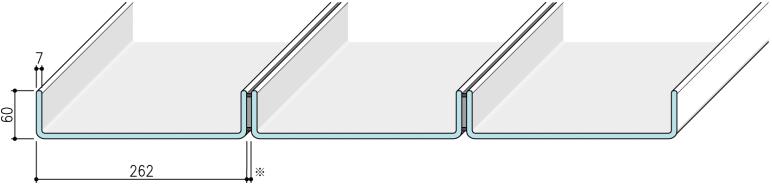 【リニット溝型ガラス:シングル施工 262×60×7(mm)】