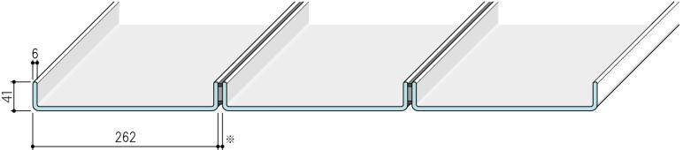 【リニット溝型ガラス:シングル施工 262×41×6(mm)】