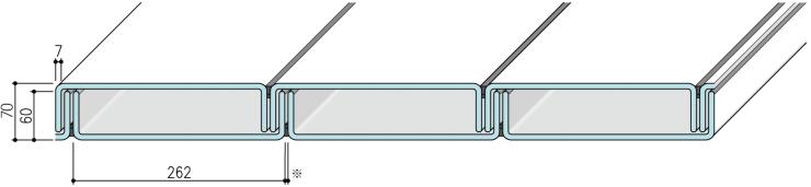 【リニット溝型ガラス:ダブル施工 262×60×7(mm)】
