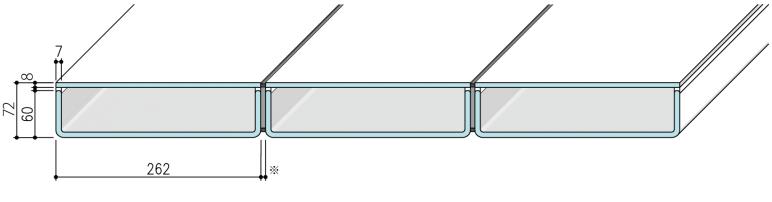 【リニット溝型ガラス+FL8:ボックス施工 262×60×7(mm)】
