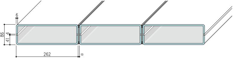 【リニット溝型ガラス:ボックス施工 262×41×6(mm)】