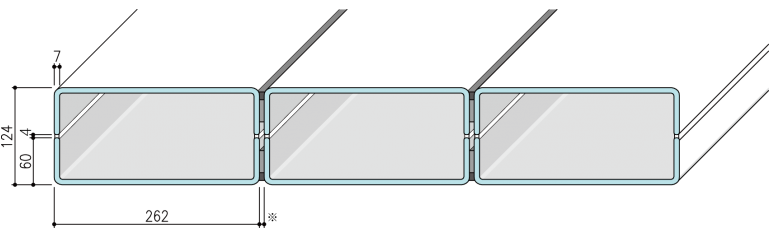 【リニット溝型ガラス:ボックス施工 262×60×7(mm)_ ウェッブタイプ】